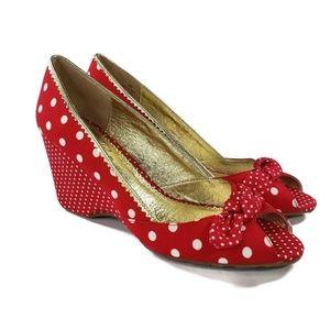 Sam Edelman Womens Shoes Red White Polka Dot Wedge